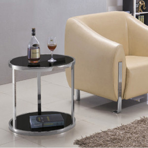 Yingfung Oval Tea Table with stainless steel frame and 8mm tempered glass,black powder coated (YF-17085T)