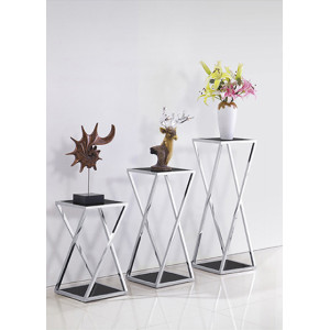 Yingfung Tea Table with stainless steel frame and 8mm tempered glass, black powder coated (YF-17102T)