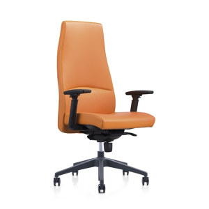 Y&F High-back PU Office Swivel Chair with Plastic height adjustable armrest, Plastic base (YF-822-134)