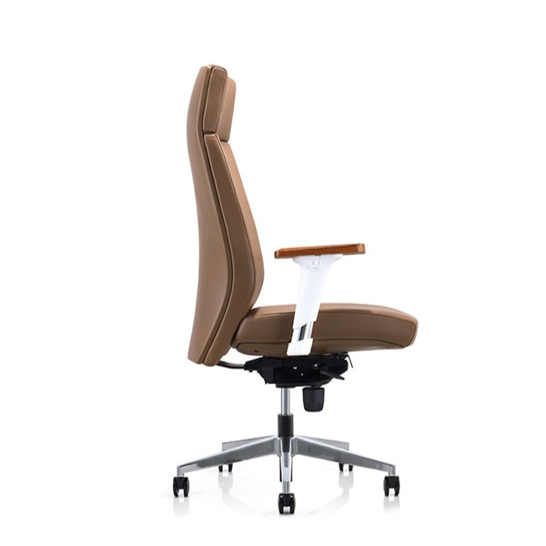 Y&F High-back PU Office Swivel Chair with Aluminum height adjustable armrest & wood top, Aluminum base