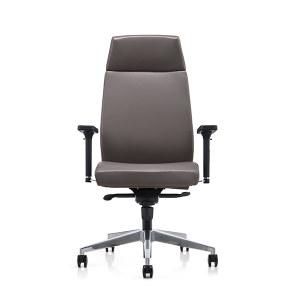 High back PU Office Swivel Chair with Plastic armrest, Aluminum base (YF-828-0884)