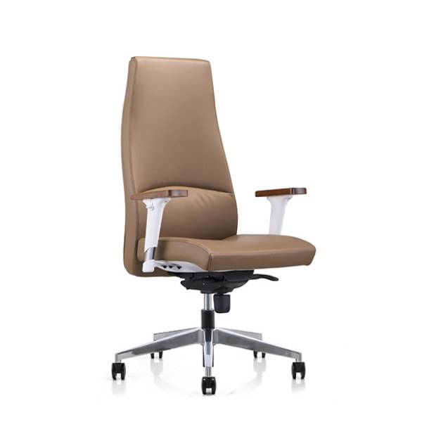 Y&F High back Big & Tall PU Leather Office Executive Chair with Wood Surface Armrests
