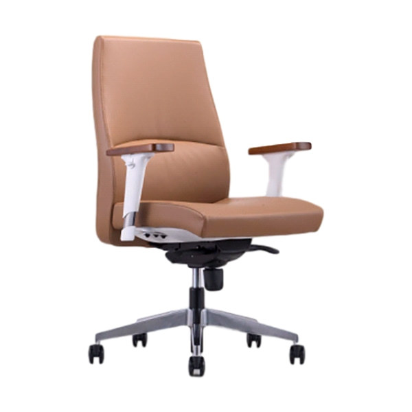 Mid-back PU Leather Office Chair with Aluminum Base and Wood Surface Armrests