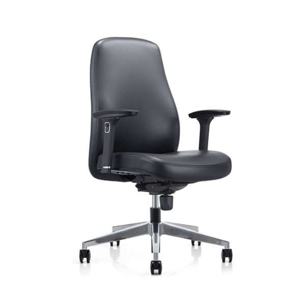 Mid-back PU Leather Office Executive Chair with Height Adjustable Armrest and Aluminum Base