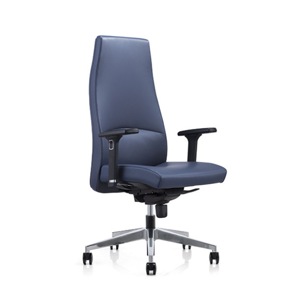 Big and Tall Blue Leather Office Executive Chair with Chrome Height Adjustable Armrests(YF-822-0891)