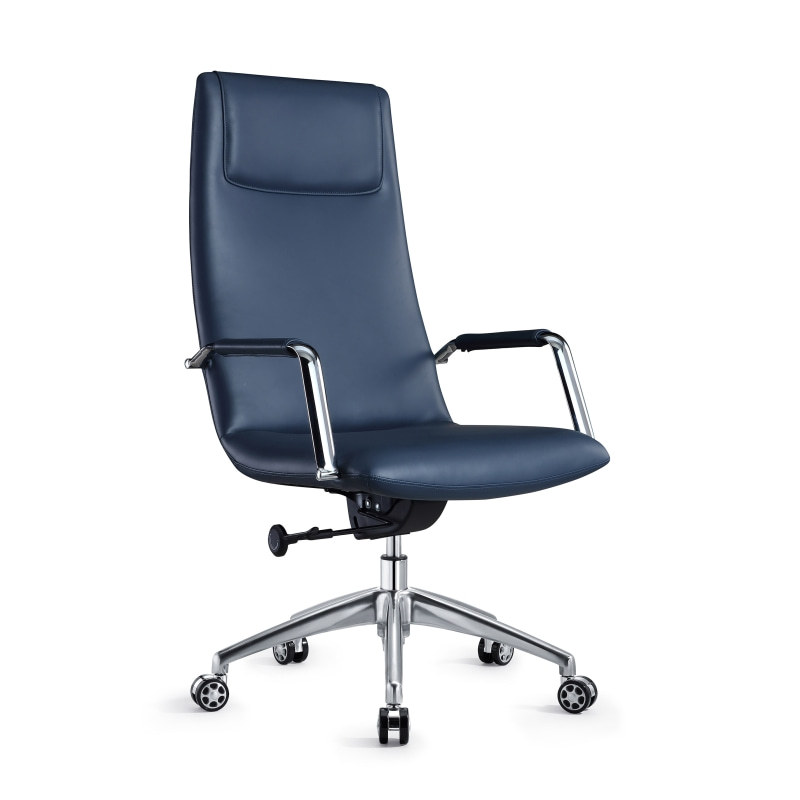 High Back PU Leather Office Chair with metal armrests and aluminum base