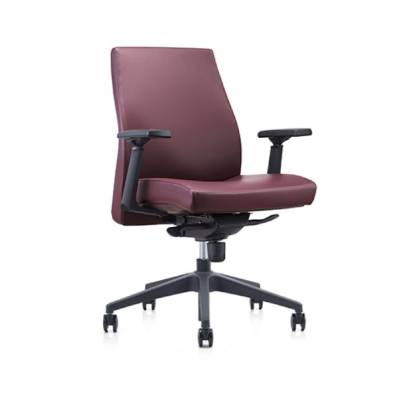 Mid-back PU/Leather Office Swivel Chair with plastic height adjustable armrest, plastic base(YF-620-02)