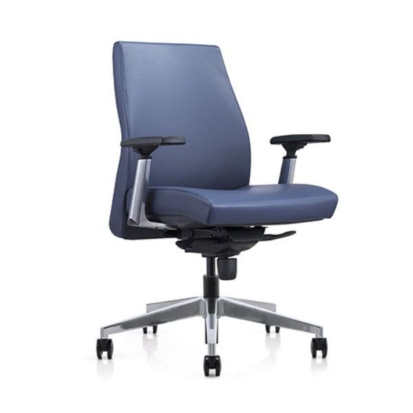 Mid-back PU Leather Office Swivel Chair with Aluminum height adjustable armrest ,Aluminum Base