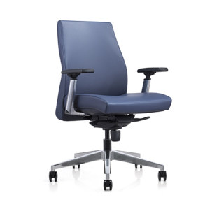 Mid-back PU Leather Office Swivel Chair with Aluminum height adjustable armrest ,Aluminum Base(YF-620-01)