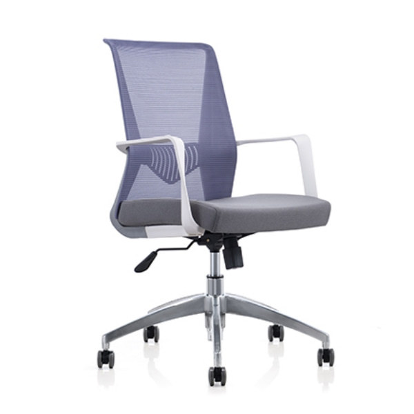 Middle Back Mesh Office Swivel Chair with PP Back and Armrest, Aluminum Alloy Base