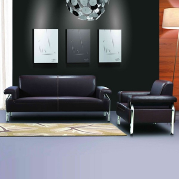 Modern Leather Office Sofa, stainless steel base and frame, sofa fabric available in PU (SF-837)