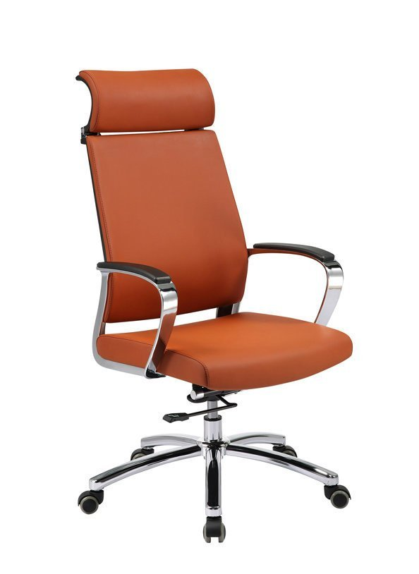 High Back Swivel Office Chair with Headrest, SS Base and Armrest (YF-9605A)