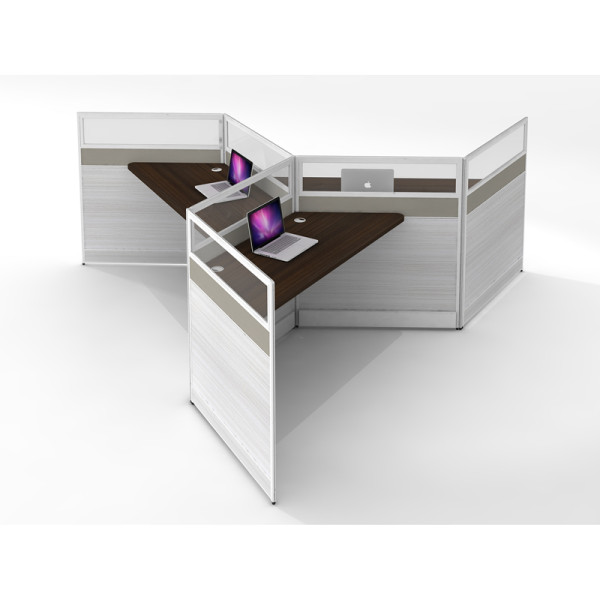 Wholesale modern modular 3 people office desk cubicles workstation small office partition(YF-YM301)