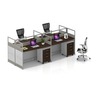 Wholesale modern modular 4 people office desk cubicles workstation small office partition(YF-YM403)