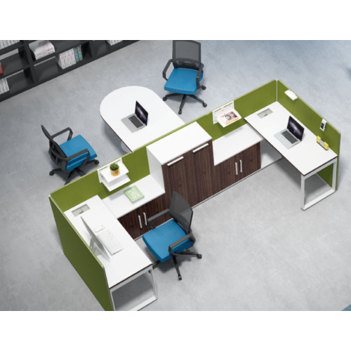 2-person office screen workstation with file cabinet and negotiation table(H1-P01-2)