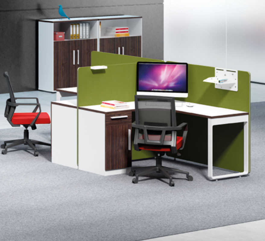 2-person office screen workstation with file cabinet and pfivacy screen(H1-P0214-2)