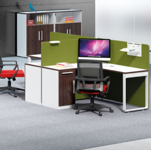 2-person office screen workstation with file cabinet (H1-P0214-2)