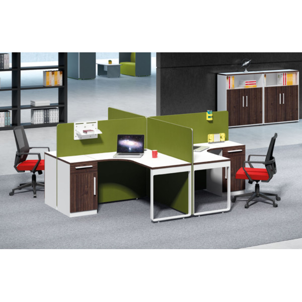 4-person office screen workstation with file cabinet(H1-P0214-4)