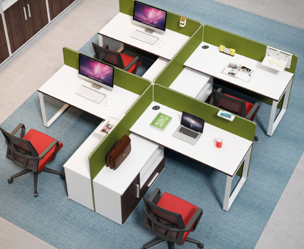 4-person office screen workstation with file cabinet and drawer,made of melamine board(H1-P0314-4)