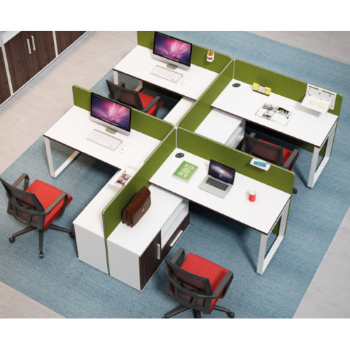 4-person office screen workstation with file cabinet(H1-P0314-4)