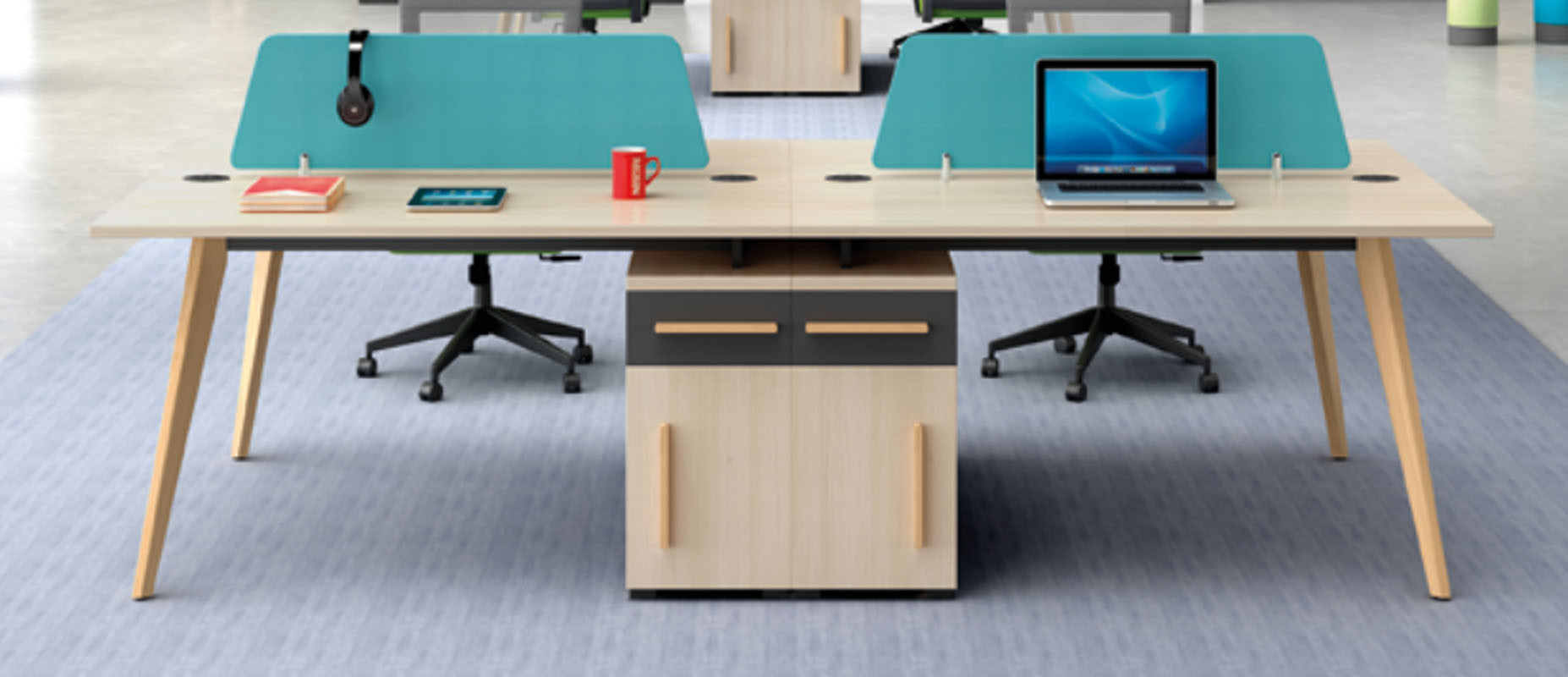 Wholesale 4-person office screen workstation with file cabinet(H2-Z0212-4)