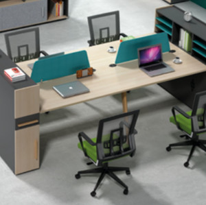 Wholesale modern modular 4 person workstations with file cabinet and drawer(H2-Z0412-4B)