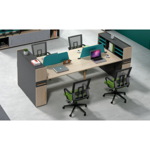 Wholesale modern modular 4 person workstations with file cabinet and drawer,made of melamine board(H2-Z0412-4B)
