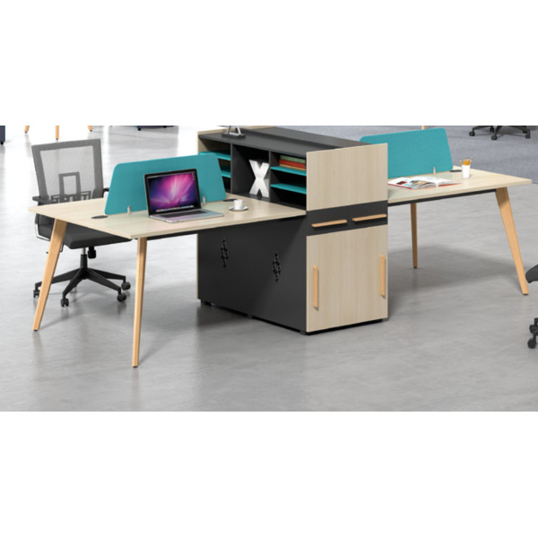 Wholesale modern modular 4 person workstations with file cabinet and drawer,made of melamine board(H2-Z0412-4)