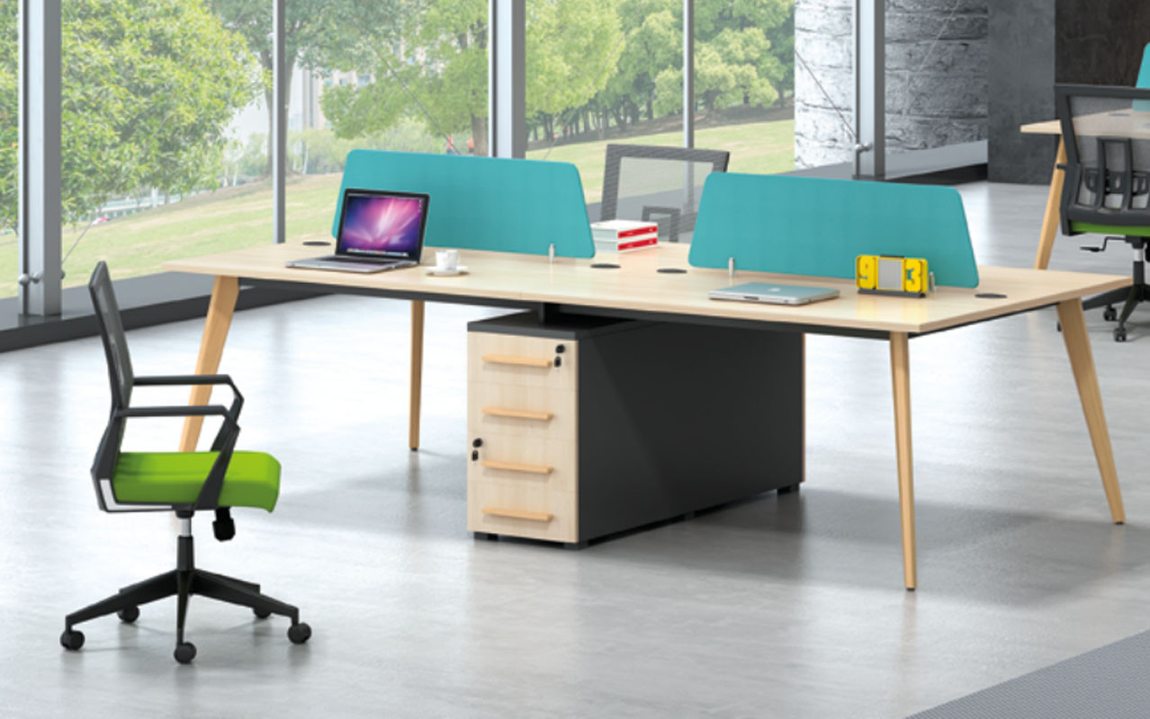 Wholesale modern modular 4 person workstations with file cabinet and drawer(H2-Z0314)