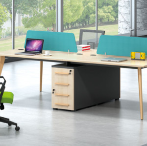 Wholesale modern modular 4 person workstations with file cabinet and drawer,made of melamine board(H2-Z0314)