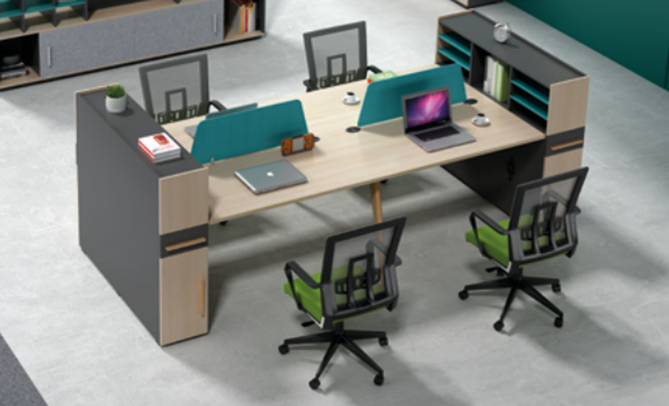 4-person office screen workstation with file cabinet and drawer,made of melamine board(H2-Z0412-4B)