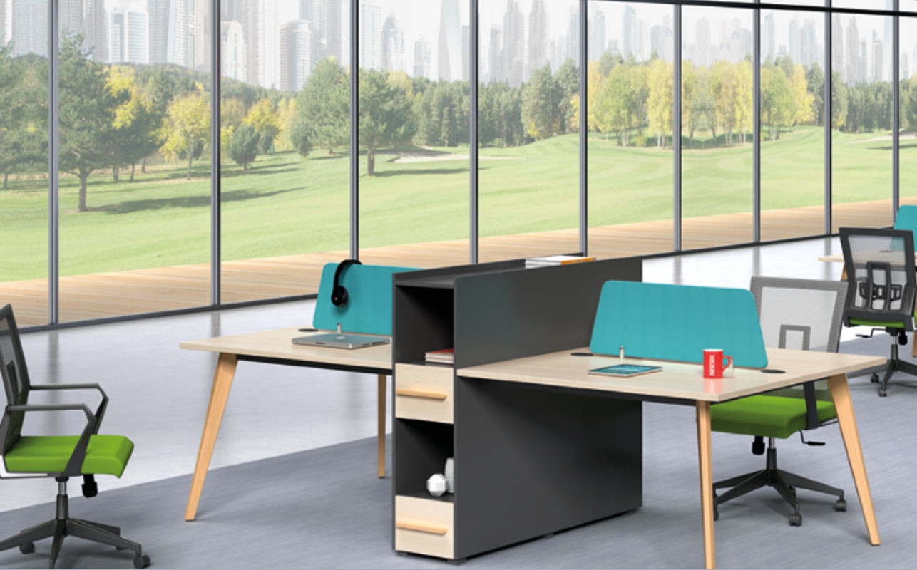 4-person office screen workstation with file cabinet and drawer,made of melamine board(H2-Z0512-4)