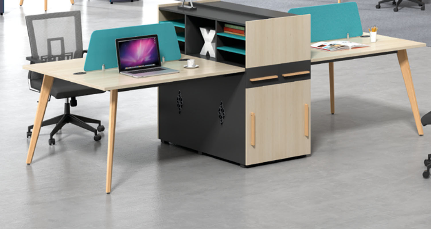 4-person office screen workstation with file cabinet and drawer,made of melamine board(H2-Z0412-4)