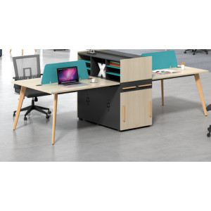 4-person office screen workstation with file cabinet(H2-Z0412-4)