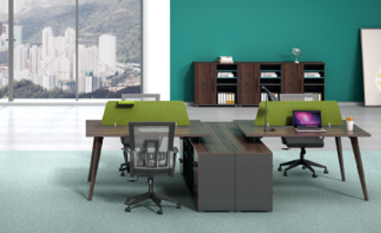 4-person office screen workstation with file cabinet and drawer,made of melamine board(H2-Z0114X)