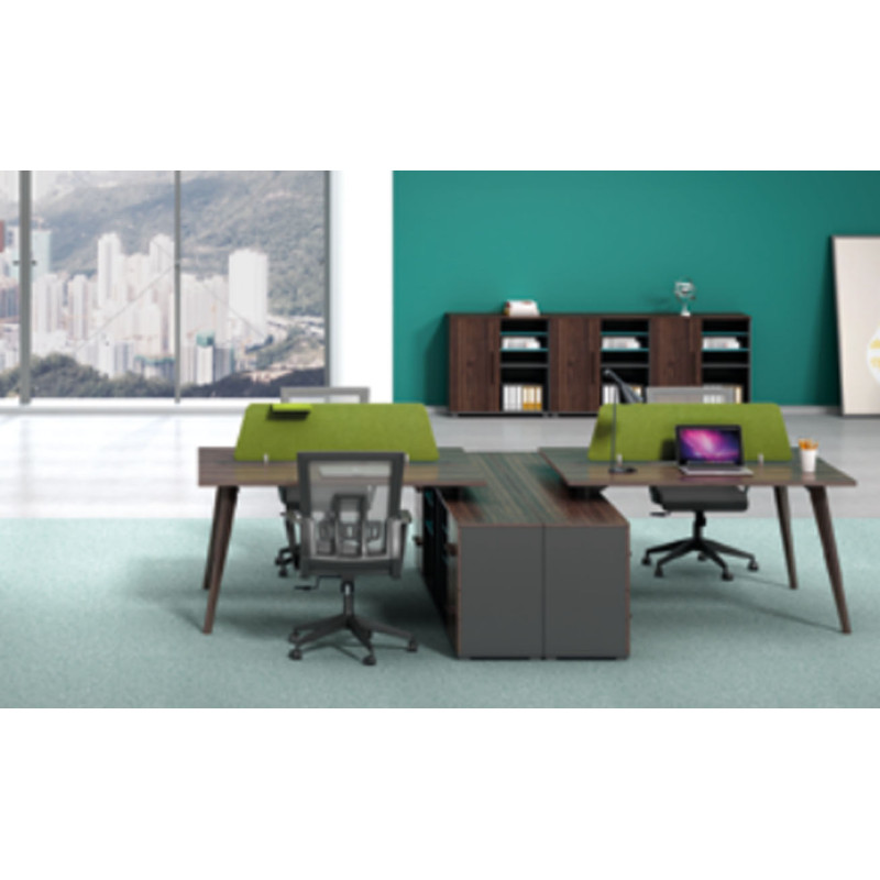 4-person office screen workstation with file cabinet(H2-Z0114X)
