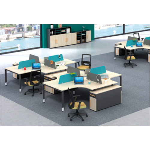 Wholesale modern modular 6 person workstations with file cabinet and drawer,made of melamine board(H4-Z0614-4)