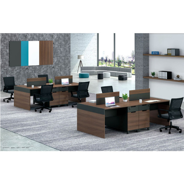 4-Person Office Screen Workstation With File Cabinet(KT-02W2412)