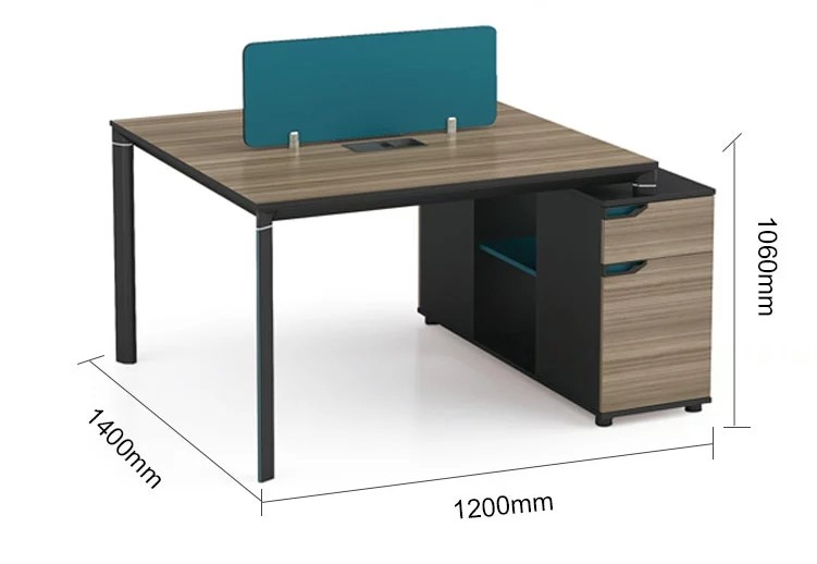 2-Person Office Screen Workstation With File Cabinet(LT-05W1412)