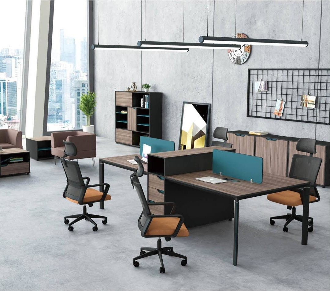 4-Person Office Screen Workstation With File Cabinet(LT-03W2712)