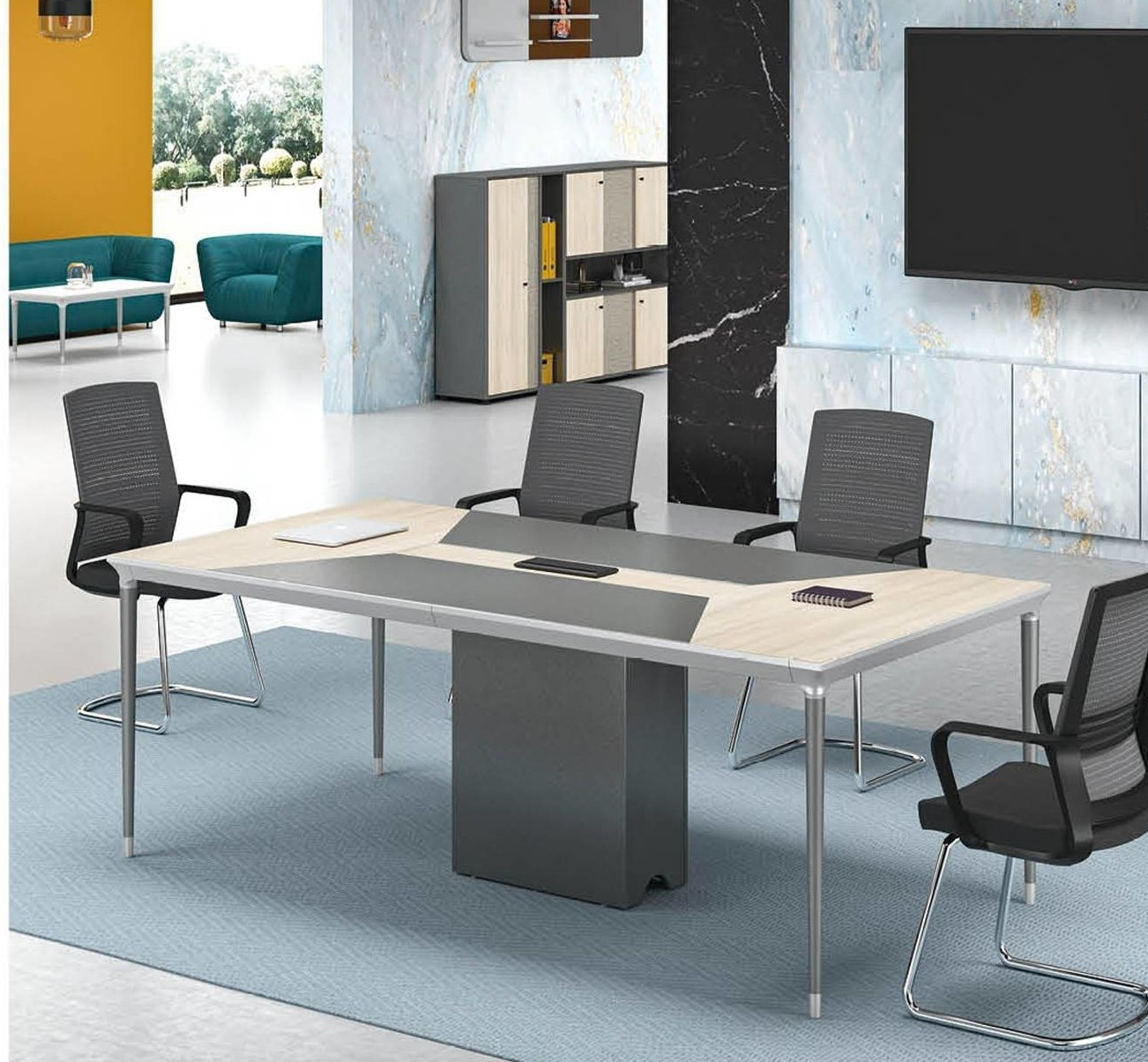 Modern Design 6 Seater Conference table,made of MFC melamine board (RS-32C2412)
