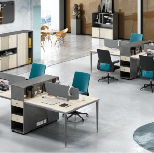 4-Person Office Screen Workstation With File Cabinet(RS-33W3212)
