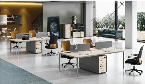 4-Person Office Screen Workstation With File Cabinet(RS-34W2412)