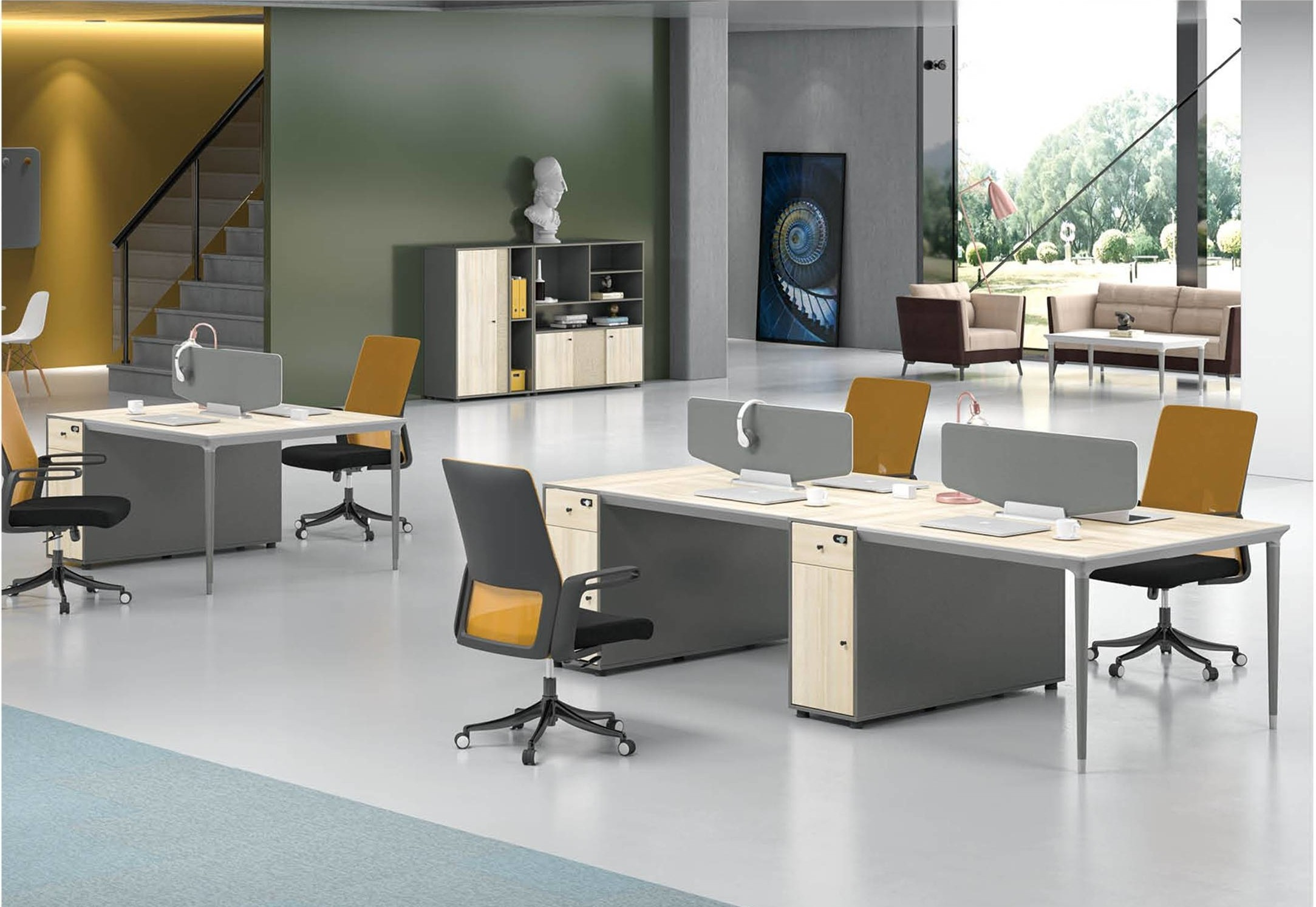 2-Person Office Screen Workstation With File Cabinet(RS-31W1412)