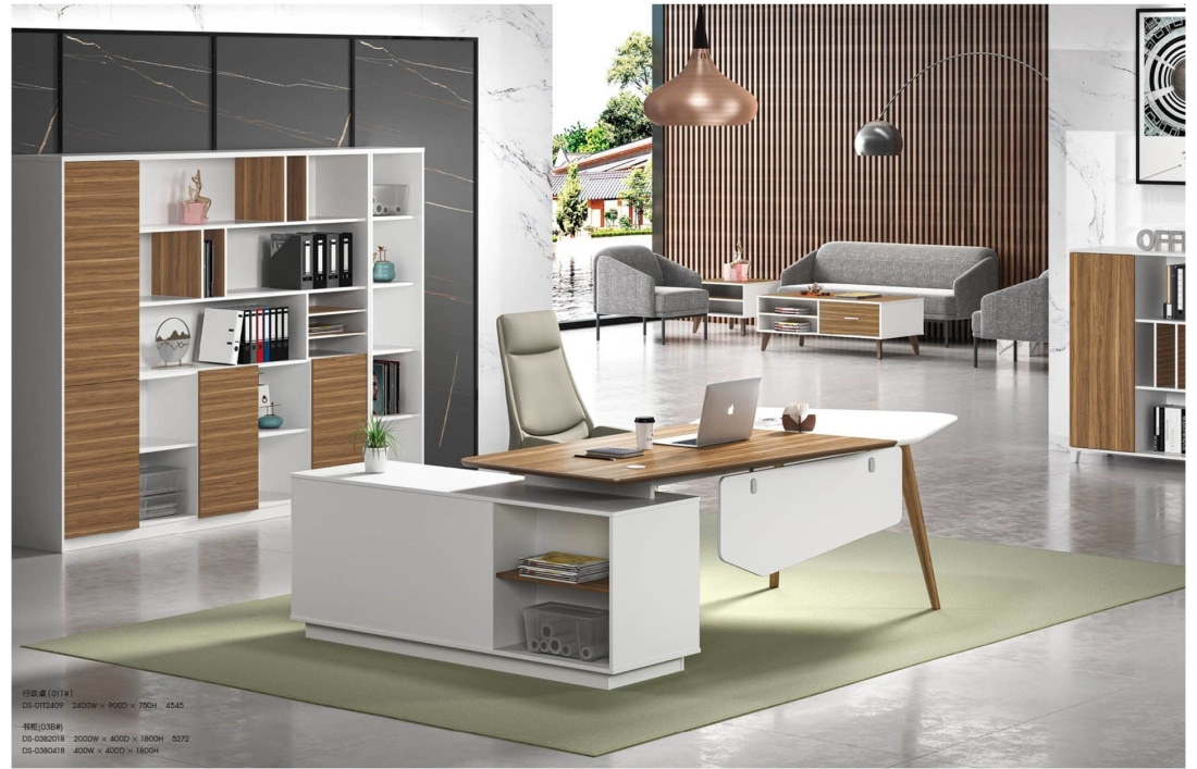 Modern Design Irregular Shaped Executive Office Desk, Made of MDF(DS-01T2409)