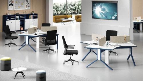 Modern modular design 120 degree 3-person office cubicle workstation(  MS-57W2323)