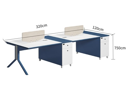 4-Person Office Screen Workstation Staff Table With File Cabinet ( MS-56W3212)