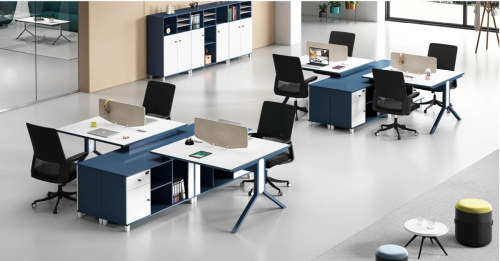 L shaped 2-Person Office Screen Workstation Executive Desk With File Cabinet ( MS-54W1424)