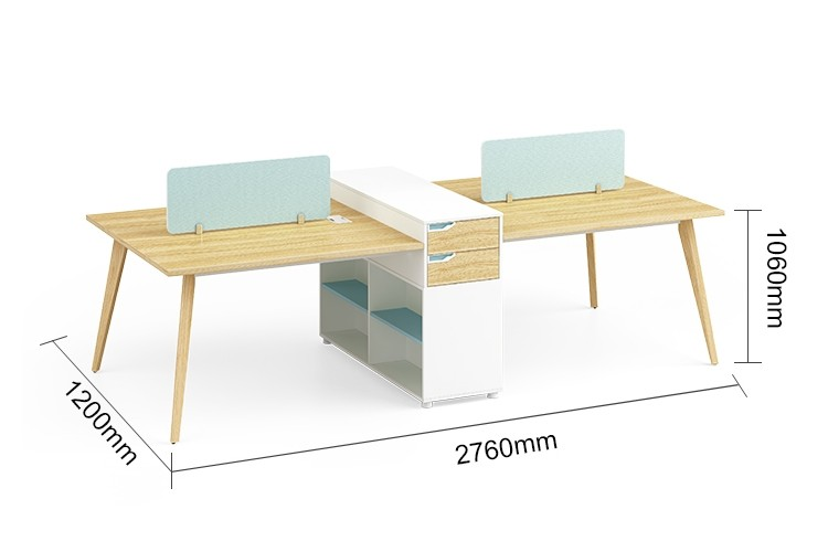 4-Person Office Screen Workstation Office Desk With File Cabinet ( YM-05W2712)