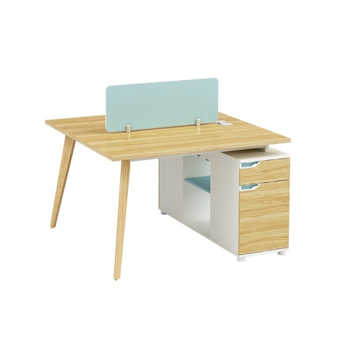2-Person Office Screen Workstation Office Desk With File Cabinet(YM-04W1212)